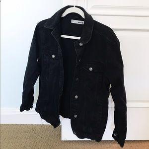 Oversized Topshop Moto Black Jean Jacket Size 8