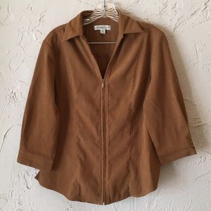 Coldwater Creek Jackets & Blazers - Coldwater Creek Faux Suede 3/4 Sleeve Jacket