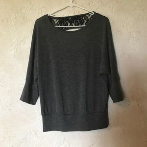 Iz Byer Sweaters - iZ Byer Small 3/4 Sleeve gray Sweater with Lace