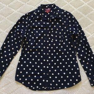 Merona Navy Polka Dot Button Up Shirt