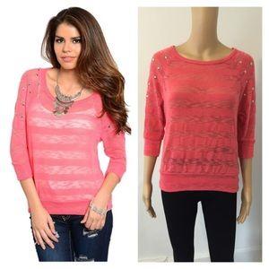 Tops - NEW medium sheer coral knit top