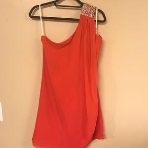 Beaded One Shoulder Coral/Pink Dress