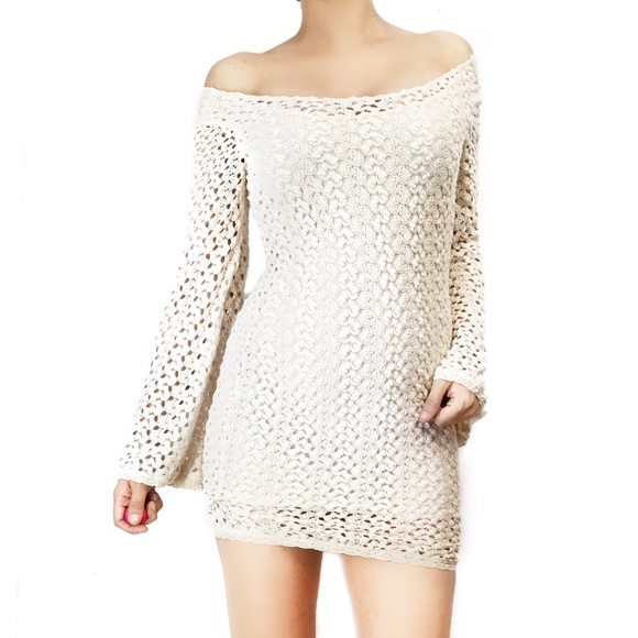 a4bbd31592 Free People Dresses   Skirts - Free people crochet dress with bell sleeves