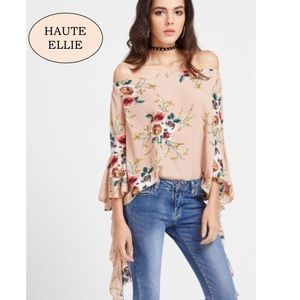 Haute Ellie Tops - Apricot Free Falling Off Shoulder Top