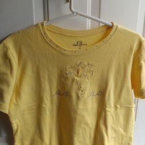 Palm Angels Tops - Palm tree yellow tee