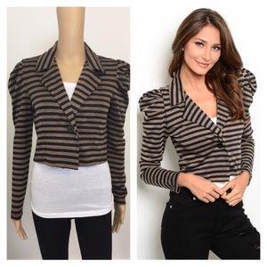 Jackets & Blazers - NEW medium mocha & black striped jacket