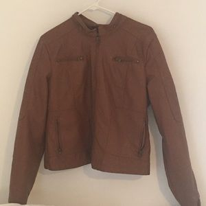 Maralyn & Me Jackets & Blazers - Brown Leather Jacket