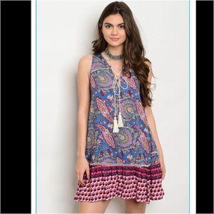 Dresses & Skirts - Blue Multi Pattern Summer Dress