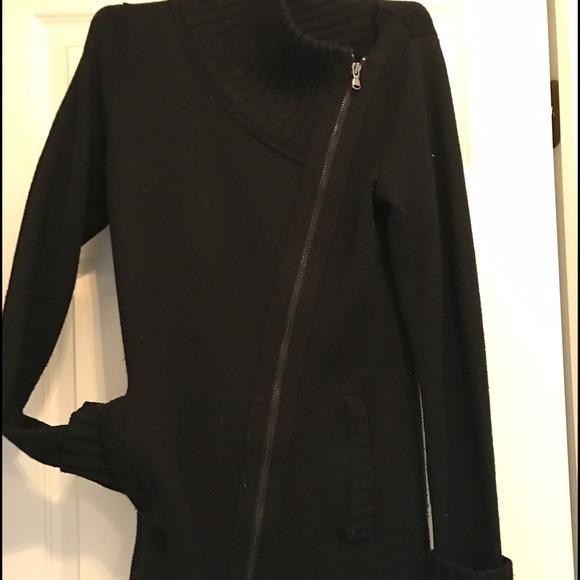 Athleta sweater coat asymmetrical zip cuff sleeve
