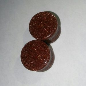 Hot Topic Jewelry - ?9/16 in Orange Glitter Stone Plugs! (Gauges)?