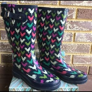 Western Chief Shoes - Colorful Chicken Print Rain Boot Wellies