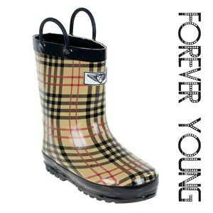 Kids Faux Fur Lined Rain Boots,  k1559 Beige Plaid