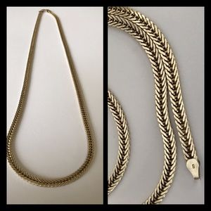 Vintage Jewelry - Heavy Sterling Silver Flat Wheat Chain Necklace