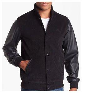 Obey NWT Corduroy Varsity Jacket Pleather BLK XL
