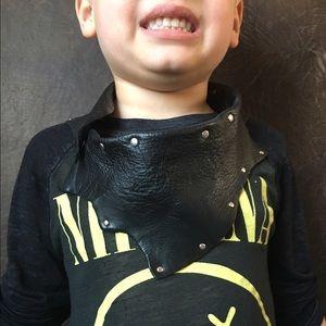 Kids black leather rocker scarf