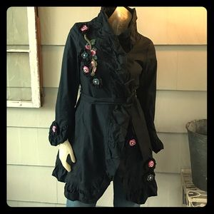 Marc Jacobs Jacket Trench Embellished Ruffle XS S