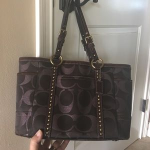 Coach Handbags - Coach limited brown bag with rivets.