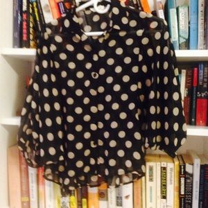 Sans Souci Tops - Sans Souci Oversized polka dot blouse