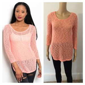 Tops - Small (last one) NEW peach Ivory knit top