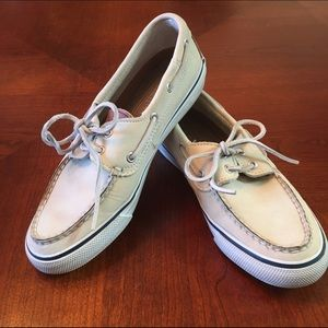 Sperry Shoes - Off White Leather Sperry Topsider, Size 7.5