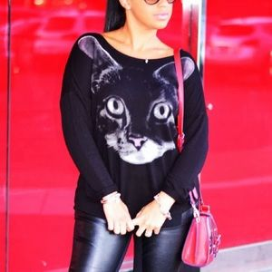 Black Cat Printed Top