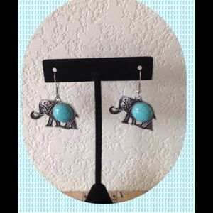 Elephant Earrings With Turquoise Stone