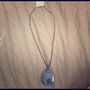 Romance Jewelry - Roped Agate Pendant Blue Necklace