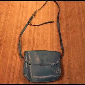 Longchamp turquoise blue leather crossbody bag