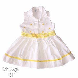 Other - Vintage White Yellow Daisy Flare Dress 3T