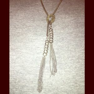 Silver Slipknot Rope Chain Necklace w| Tassels