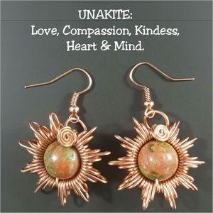 DGwiring Jewelry - Unakite Copper Earrings Wire Wrapped Handmade