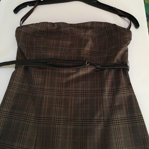 The Limited Strapless plaid sheath dress