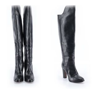 VINCE Dempsey Black Leather Over The Knee Boots