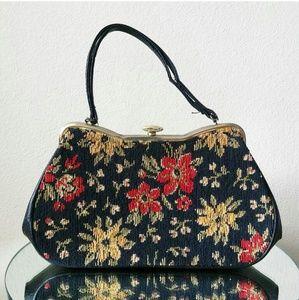 Vintage Tapestry & Leather Bag