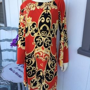 Vintage 70's Style Red Print Dress