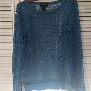 JONES NY SIGNATURE- fishnet long sleeve top