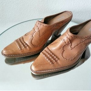 Vintage Whipstitched Leather Mules