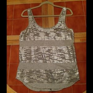 NWT Express Gray Sequined Tank Small