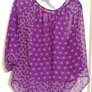 Purple sheer tunic top