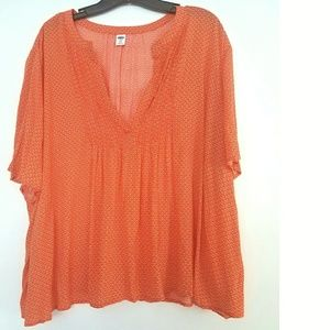 Old Navy XXL Orange Floral Pintuck Top