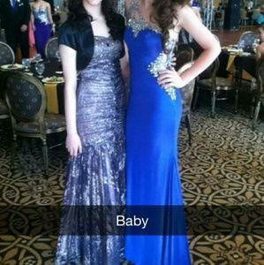 Royal Blue Beaded one shoulder prom dress