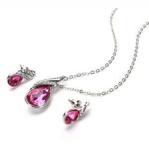 Jewelry - 🛒FREE HP🎉2/7 Necklace+ earring Pink Crystal/CZ