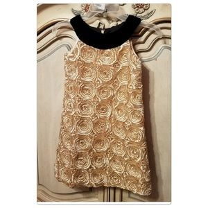 SUSANNE LIVELY DESIGNER PARTY DRESS- BLACK & GOLD