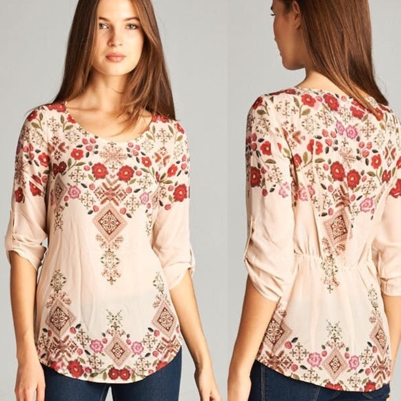 97 off boutique tops floral print top with rolled arm for Boutique tops