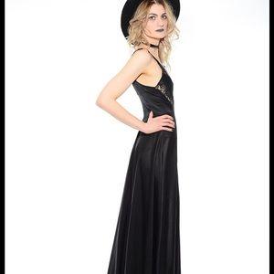Vintage Black Lace Maxi Slip Dress Small
