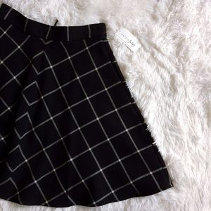 MAISON JULES black+white plaid circle skirt NWT
