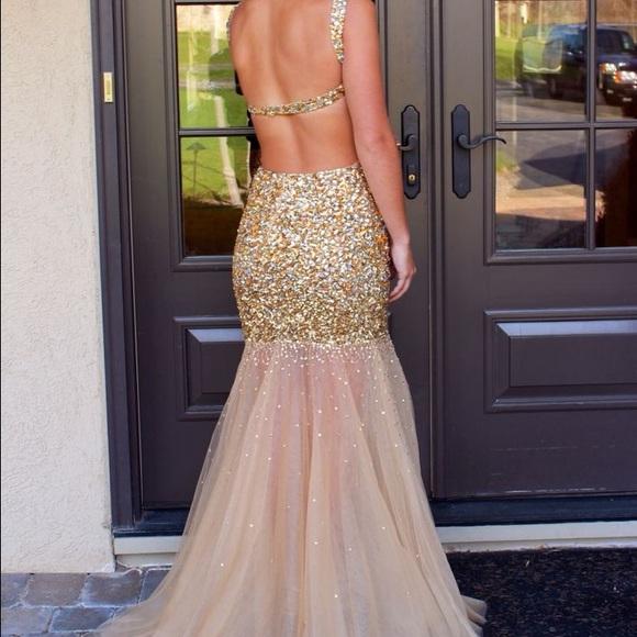 Jovani Dresses | 17110 Long Gold Prom Dress | Poshmark