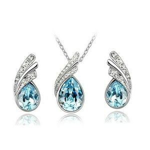 $10 sale ! Aquamarine Necklace and earring set CZ