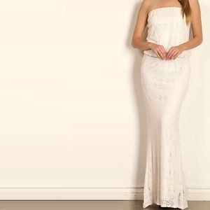 Dresses & Skirts - Ivory Lace Maxi Dress - perfect for beach wedding!