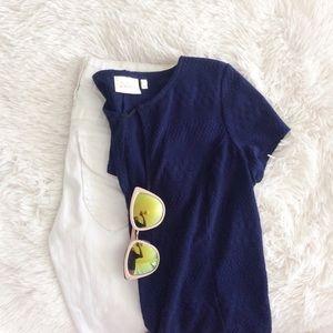 ANTHROPOLOGIE navy blue short sleeve top